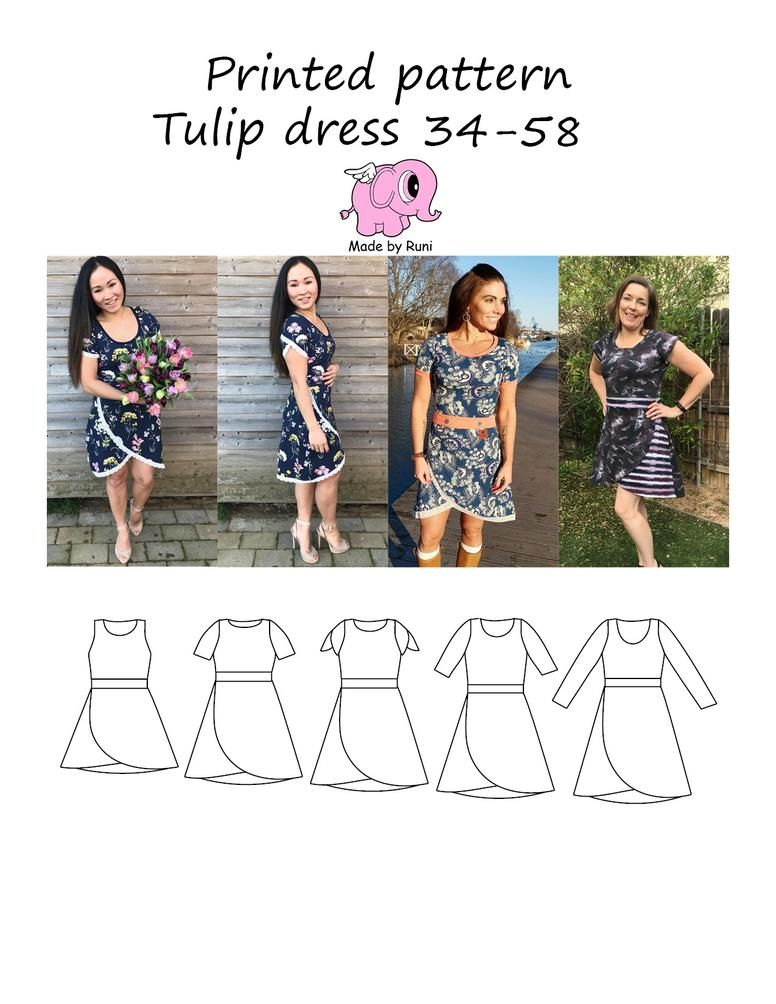 Tulip dress kjole 34 54 papir mønster