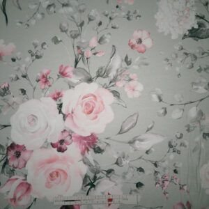 Digital printet bouldsjersey lysegrå med blomster