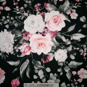 Digital printet bomulds jersey sort med blomster