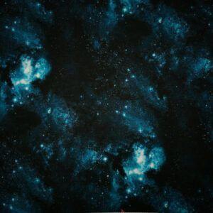 Digital printet bomulds jersey blåt univers