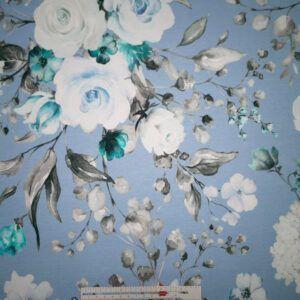 Digital printet bomulds jersey lyseblå med store blomster