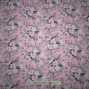 Digital printet bomulds jersey lyserød med blomster