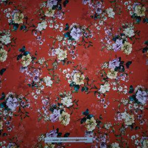 digital print bomuldsjersey rød med blomster