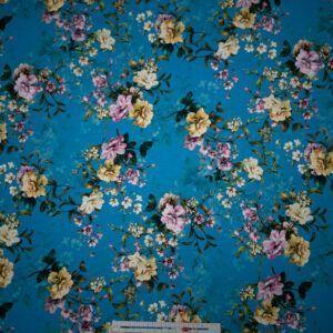 digital print jersey blå med blomster
