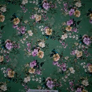 digital print bomuldsjersey grøn med blomster
