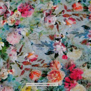 hør viskose med digital printede blomster