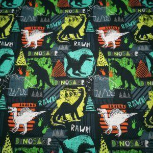 Digital printet bomulds jersey med dinosaur