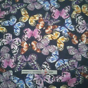 Digital printet bomulds jersey med sommerfugle