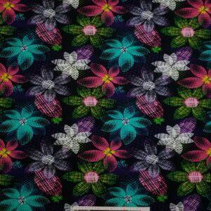 Digital printet bomulds jersey med farverige blomster
