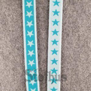 Boxershorts elastik i hvid/turkis 20 mm