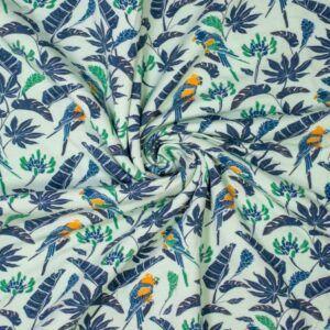 Bambus jersey blå med pagegøje print