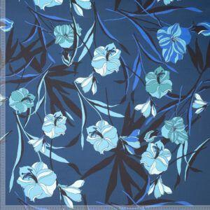 Kraftig blå bomuld med blomster