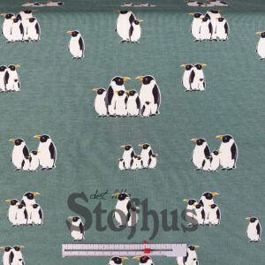 Digital printet bomulds jersey med pingviner
